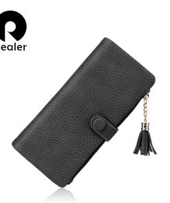 REALER brand new design women wallet long high quality women tassel clutch zipper wallets female multi card purse
