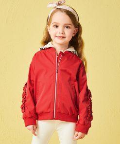 Balabala hooded jacket with hat detachable fashion baseball uniform autumn costumes for girls children's jacket for girls 1