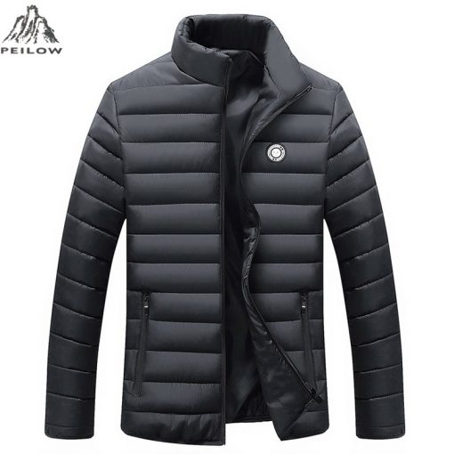 PEILOW Winter Jacket Men 2018 new Fashion Stand Collar Male Parka Jacket Mens Solid color Jackets and Coats Man Winter Parkas 1