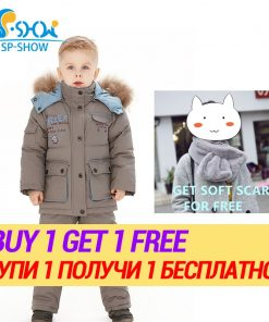BUY 1 SUIT GET 1 FREE SCARF -30 degrees SP-SHOW Winter 90% White down suit nature fur hat Thick Warm Down suit For 2-6 Age 1