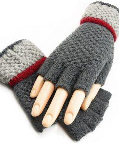VISNXGI Black Knitted Stretch Half Finger Fingerless Gloves For Winter Unisex Soft Warm Elastic Mittens Accessories Red Glove 1