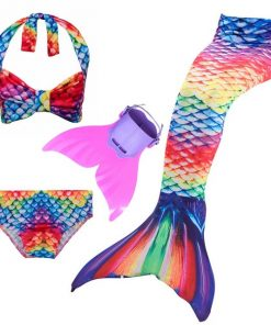 3pcs Bikini Set Mermaid Tail Swimwear with Swimmable Monofin Filpper Girls Mermaid Tail For Swimming Cosplay Halloween Costume 1
