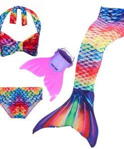 3pcs Bikini Set Mermaid Tail Swimwear with Swimmable Monofin Filpper Girls Mermaid Tail For Swimming Cosplay Halloween Costume 1