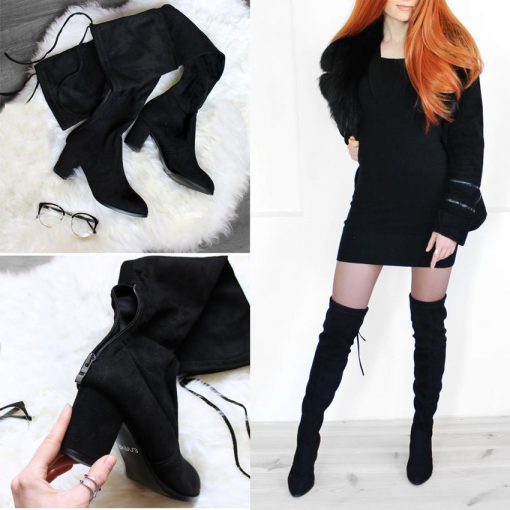 ESVEVA 2018 Over The Knee Boots Winter Round Toe Warm Women Boots Lady Short Plush + Stretch Fabric Fashion Boots Big Size 34-43 4