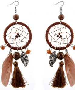 DIEZI Bohemia Fashion Long Tassel Dream catcher Feather Pendant Drop Earrings for Women Girls Fringed Dangle Statement Earring 1