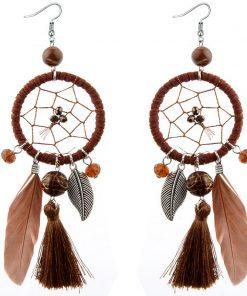 DIEZI Bohemia Fashion Long Tassel Dream catcher Feather Pendant Drop Earrings for Women Girls Fringed Dangle Statement Earring 1