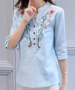 2017 Summer New Floral Embroidered Shirt Female Half Sleeve Korean Style Women Blouse Loose Shirt Cotton Linen V-Neck Tops 1