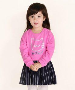 balabala baby girls Clothes set 2pcs fashion cotton spring Tops dress+Long leggings cat Outfits costume girl children's clothing 1