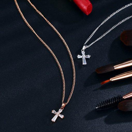 17KM Rose Gold Color Cross Pendant Necklaces For Woman Crystal Pendant Cubic Zirconia Long Necklace Bijoux Jewelry Wholesale 2