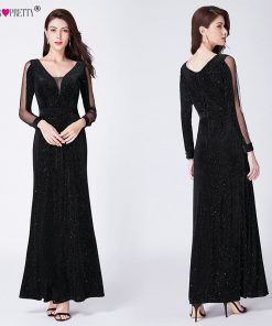 Black Evening Dress Long Sleeve Ever Pretty EP07394BK Elegant Little Mermaid Autumn Long Formal Party Gowns Robe De Soiree 2018 1