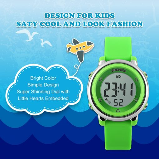 SKMEI New Fashion Sports Children Watches Waterproof Alarm Watch Kids Back Light Calendar Digital Wristwatches Relogio Infantil 2