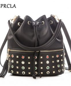 REPRCLA Luxury Brand Women Bucket Bag Fashion Tassel Shoulder Bag High Quality Rivet Messenger Bags Female Crossbody Bag Tote 1