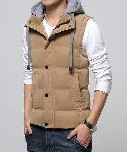 M-4XL Casual Men Vest Men Slim Fit 2018 Waistcoat Hat Detachable Hooded Winter Warm Windbreak Khaki Men Vest