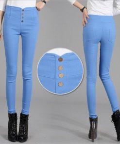 VISNXGI Button Leggings Skinny Leggins Women Pencil Trousers Plus Size High Waist Legging Slim Ladies Pantalones Female Clothes 1