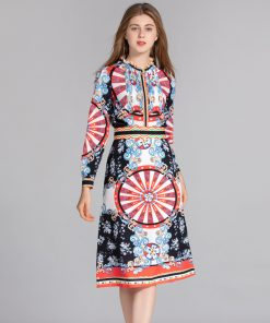 Qian Han Zi New Fashion Runway Suit sets Women's Long Sleeve Pleated Shirt and Pattern Print Vintage Skirt Set