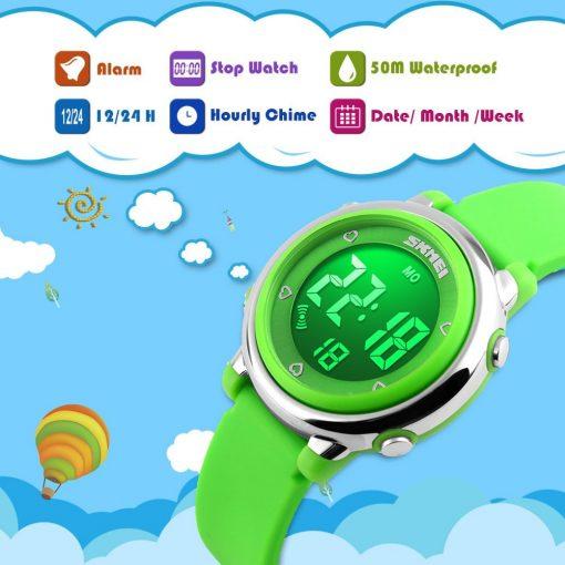 SKMEI New Fashion Sports Children Watches Waterproof Alarm Watch Kids Back Light Calendar Digital Wristwatches Relogio Infantil 3
