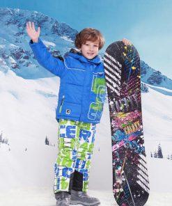 FREE SHIPPING skiing jacket+pant snow suit fur lining -20 DEGREE ski suit  kids winter clothing set for boys 1