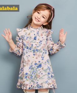 Balabala summer dress for girls princess o-Collar Dresses for children kids clothing girls long sleeve Knee-Length dresses