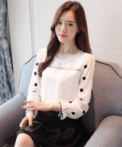 long sleeve women blouse shirt fashion 2018 chiffon women's clothing sweet o-neck black dot white feminine tops blusas d383 30 1