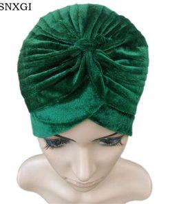 VISNXGI 2018 New Europe Women Winter Fashion Black Dark Blue Green Color Velvet Muslim Turban Hats Indian Caps High Quality