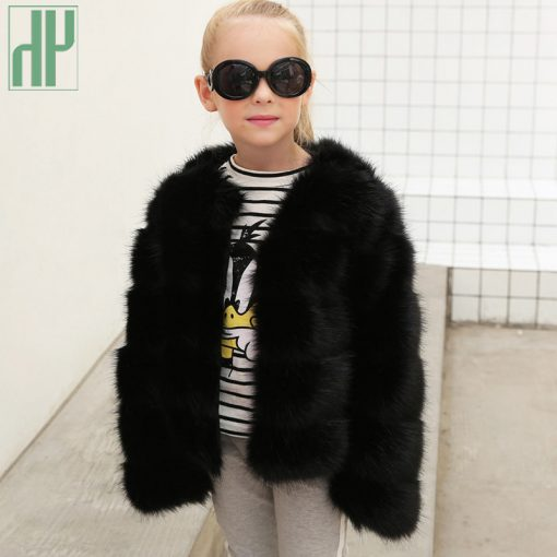 HH Girls fur coat Winter Elegant Baby Girl Faux Fur Jackets And Coats Thick Warm Parka Kids Outerwear Clothes jacket children 2