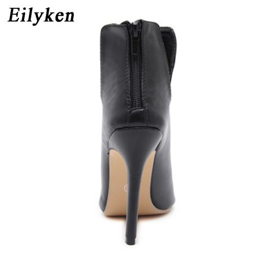 Eilyken Spring/Autumn Gladiator V Mouth Women Pumps Zipper Fashion Black Sexy  Peep Toe Cover Heel Pumps 12CM Size 35-40 3