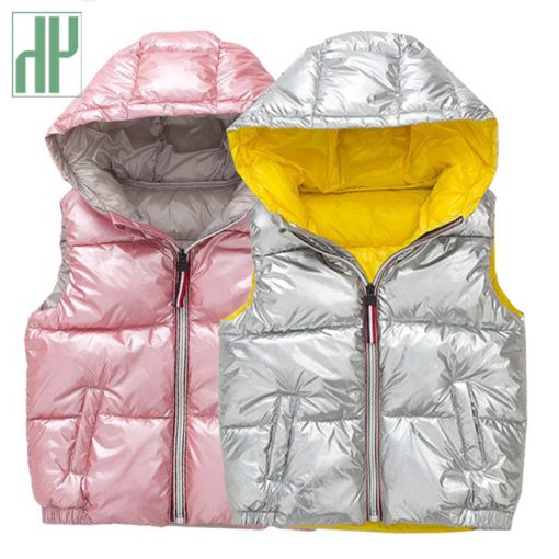 Kids vest Coats shiny gold silver Toddler girl vest baby boy hooded jacket winter autumn waistcoats jacket for girls Outerwear