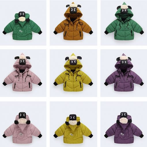 HH Winter jacket for boy snowsuit Cartoon sheep hooded coat kids down jacketts parka girl children's winter jackets Outerwear 4