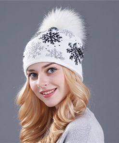 XTHREE real mink pom poms wool rabbit fur knitted hat Skullies winter hat for women girls hat feminino beanies hat 1