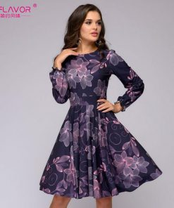 S.FLAVOR Women printing A-line dress Elegant purple color ruffles long sleeve short dress New autumn winter vintage vestidos 1