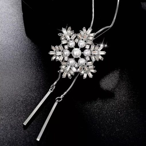 RAVIMOUR Crystal Snowflake Pendants Necklaces Statement Choker Simulated Pearl Jewelry Long Necklace for Women Sweater Chain New 5