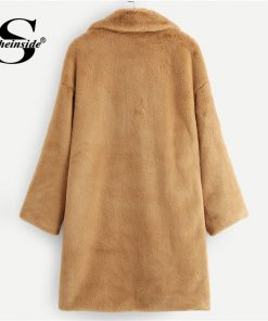 Sheinside Camel Button Front Faux Fur Teddy Coat Women Winter Clothes 2018 Office Ladies Casual Outerwear Womens Warm Long Coats 1