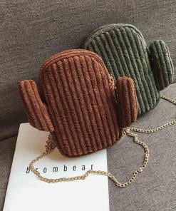 Women Corduroy Messenger Bag Zipper Chain Shoulder Bags Cute Green Cactus Shape Handbag Small Designer Messenger Bag for Girls