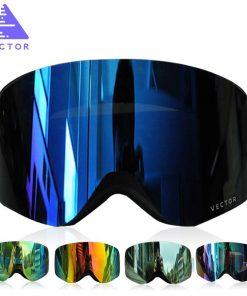 VECTOR Brand Ski Goggles With Case  Double Lens UV400 Anti-fog Ski Snow Glasses Skiing Men Women Winter Snowboard Eyewear HB108 1