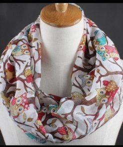 VISNXGI New Fashion Warm Women Flower Loop Scarf Female Owl Print Ring Scarves Winter Shawl Wrap Warmer Face Mask Beanie Hats 1