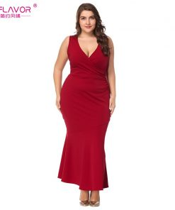 S.FLAVOR women XL-5XL Plus size dress back lace patchwork V-neck sleeveless red long dress Elegant sexy sheath vestidos de festa 1