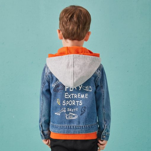 Balabala cotton jeans jacket for boys jacket for boy spring-autumn pattern on the back Hooded jacket clothes for boys enfant 3