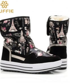 2018 New brand woman boots warm winter shoes flower waterproof wearing female fashion hot  thick fur high quality  buckle style