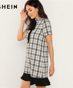 SHEIN Black and White Plaid Contrast Bow and Ruffle Detail Tweed Dress Elegant Stand Collar Pocket Women Autumn Short Dresses 1