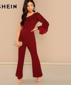 SHEIN Burgundy Office Lady Elegant Flounce Embellished One Shoulder Tailored Solid Jumpsuit 2018 Autumn Casual Women Jumpsuits