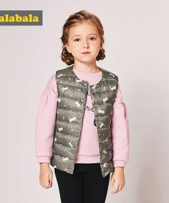 balabala baby Girls down vest sleeveless coat 2017 new winter fashion vest casual waistcoat Thin clothes for baby girl toddler