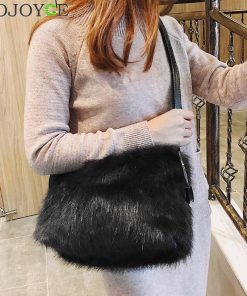 Sweet Girls Soft Black White Handbags Faux Fur Women Tote Bags Large Capacity Evening Party Shoulder Bag Travel Totes female 1