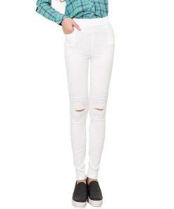 VISNXGI Summer Style White Hole Torn Leggings Women's Pants High Waist Femme For Women Skinny Black Casual Pants High Quality 1