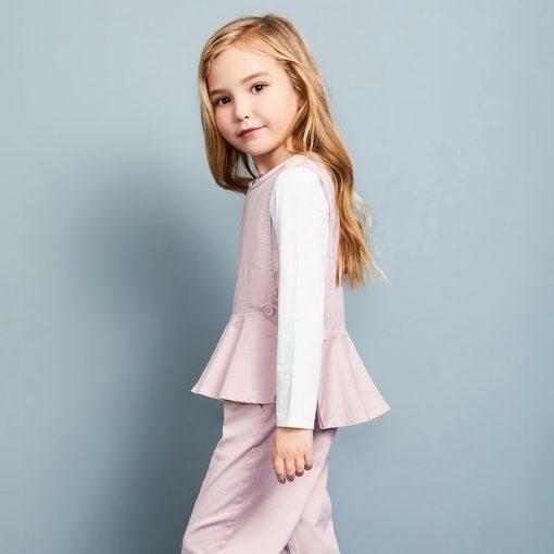 Balabala 3pcs/set girls clothing set cotton toddler girl clothes suit costume Solid preppy style tshirt + leggings + vest sets 2
