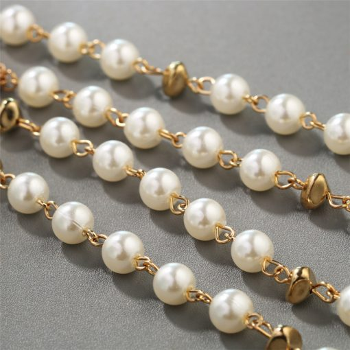 RAVIMOUR Multilayer Imitation Pearl Jewelry Long Necklace for Women Fashion Rose Flower Gold Color Chain Statement Collar Choker 4
