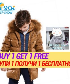 BUY 1 COAT GET 1 FREE SCARF -30 degrees SP-SHOW Winter 90% White down coats With Fur Hood Warm Jacket For 4-9 Age Russian Coats 1