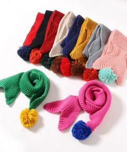 Children Winter Warm Knitted Scarves Baby Boys Girls Solid Color Ski Scarf Neck Warm Soft Knitting Child Mermaid Scarf Bufandas 1