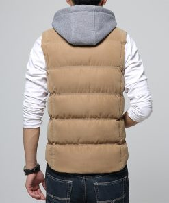 M-4XL Casual Men Vest Men Slim Fit 2018 Waistcoat Hat Detachable Hooded Winter Warm Windbreak Khaki Men Vest 1