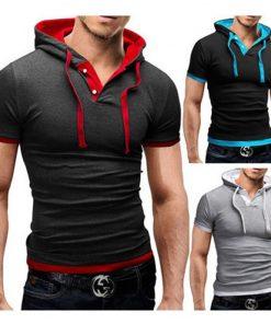 2018 Men Tshirt Summer Casual Hooded Tees Hot Sale Short Sleeve T-Shirt Homme Slim Fit Elastic Brand Clothing Male T shirt 1