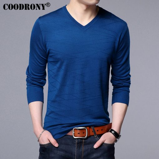 COODRONY Knitted Wool Pullover Men Casual V-Neck Sweater Men Brand Clothing Mens Cotton Sweaters Slim Fit Pull Homme Shirts 7129 3